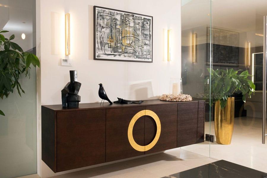 elegantes Kästchen, schwebendes Kästchen, Eiche gebeizt, goldener Öffnungsring
